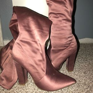 Rosewood Pink pointed toe over the knee boots
